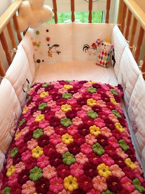 Pink Flower Baby Blanket