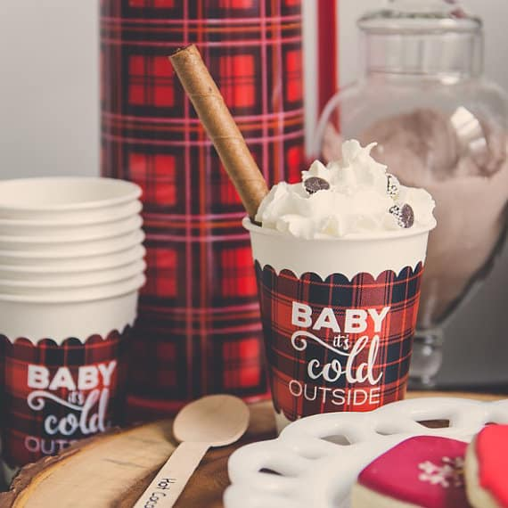 Plaid Cup Sleeves Cocoa Bar