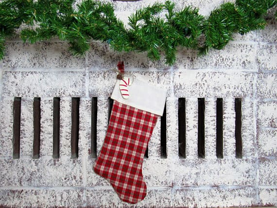 Plaid Flannel Christmas Stocking with White Trim