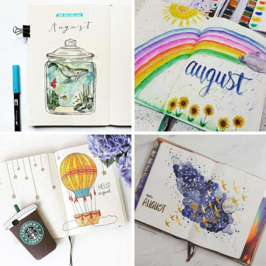 Plan with Me Bullet Journal August Cover Pages
