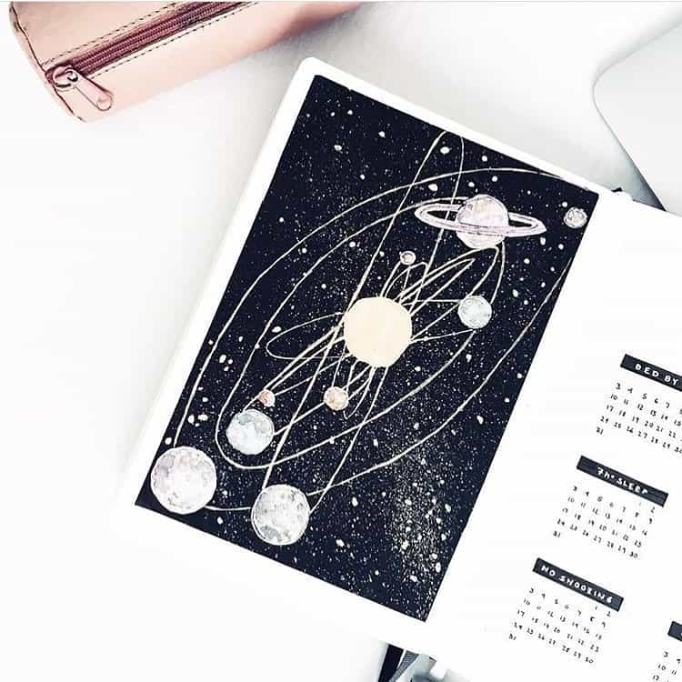 Planets Cover Page Bullet Journal