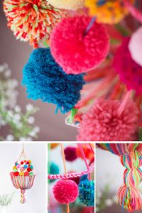 Loving this DIY Pompom Chandelier - a great project for using up leftover yarn!