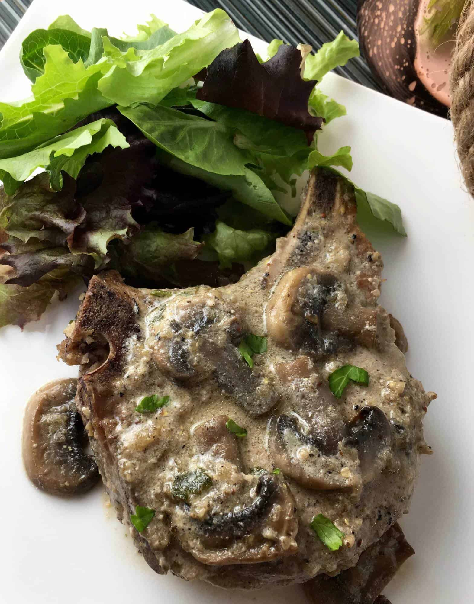 Bone-In Pork Chops with Creamy Mushroom Sauce