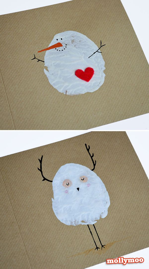 Potato Print Snowman Christmas Card
