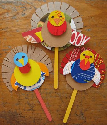 Preschool Thanksgiving Crafts Turkey Puppets