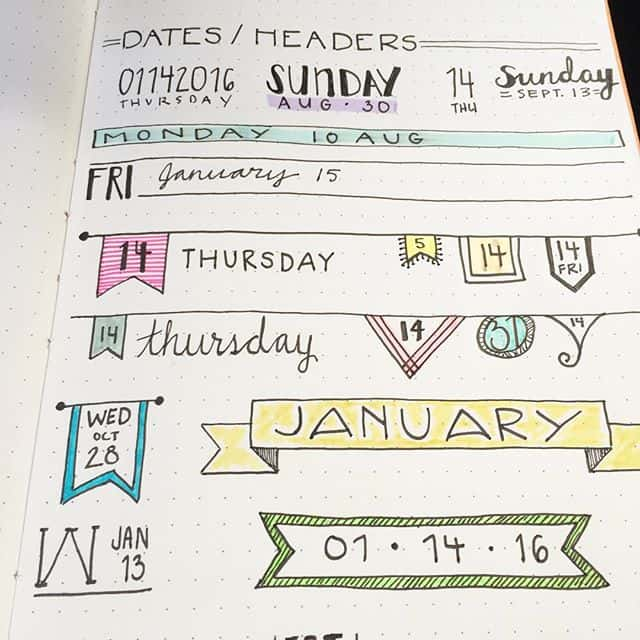 Pretty bullet journal headers