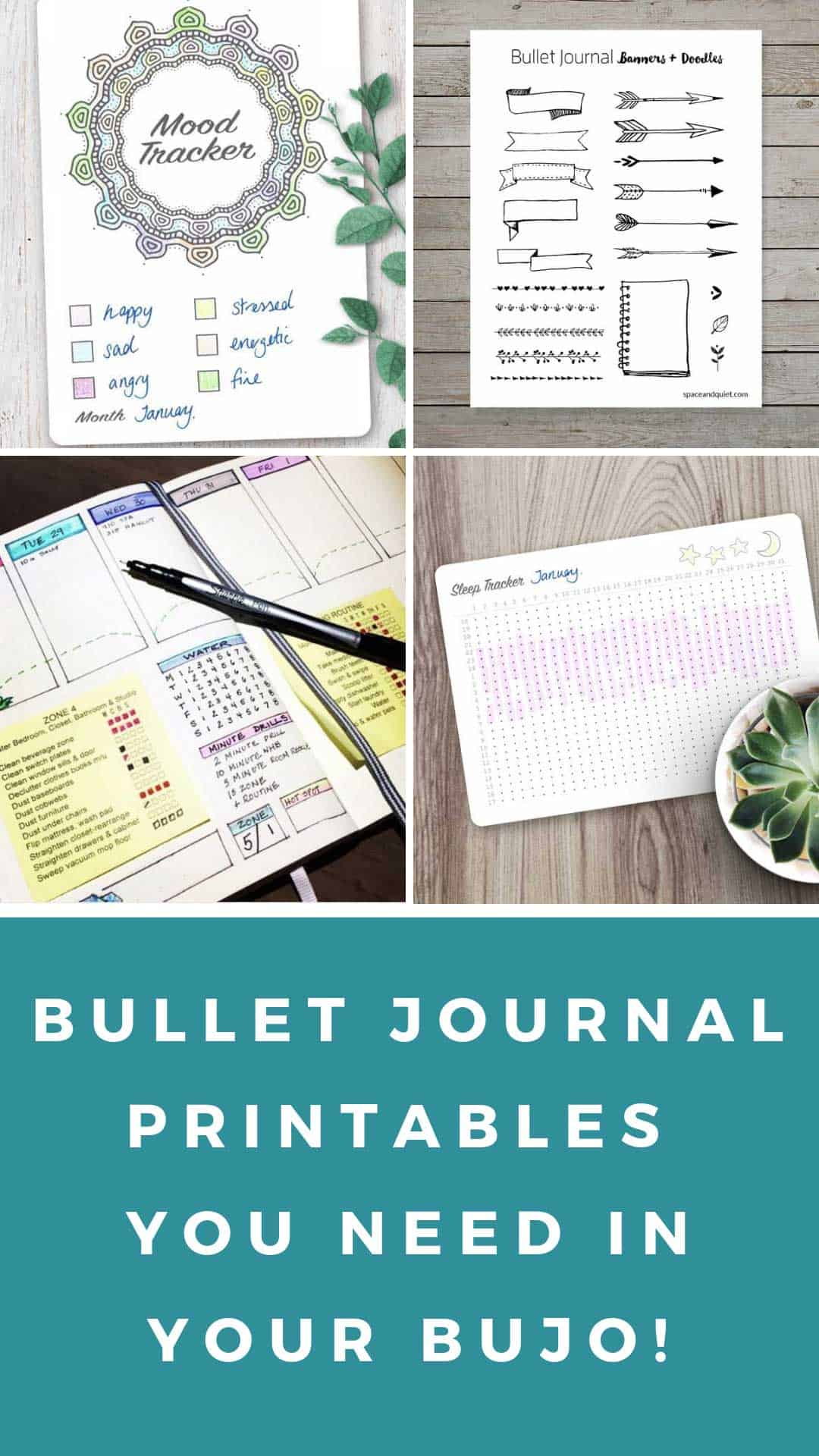 These printable bullet journal pages are just what you need if you don't have time to draw your own spreads! #bulletjournal