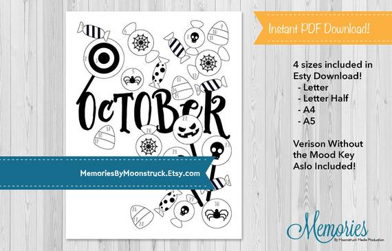 Printable Mood Tracker for Halloween