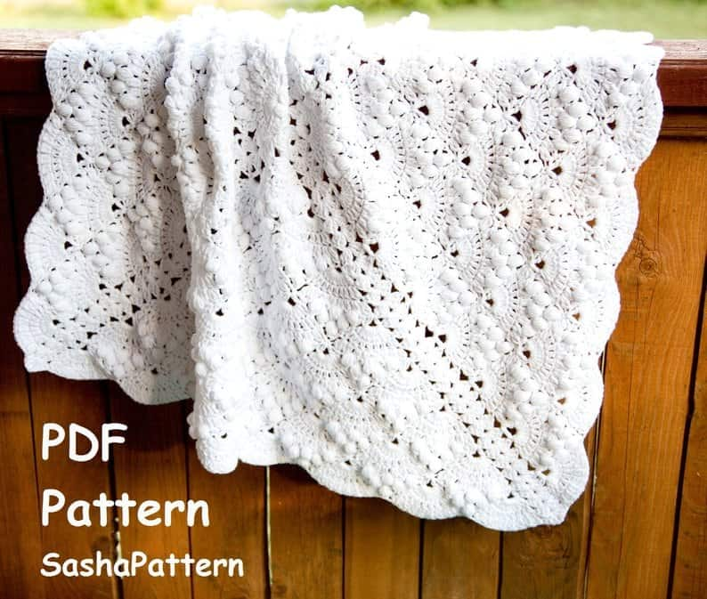 Puff Stitch Lace Baby Blanket Pattern