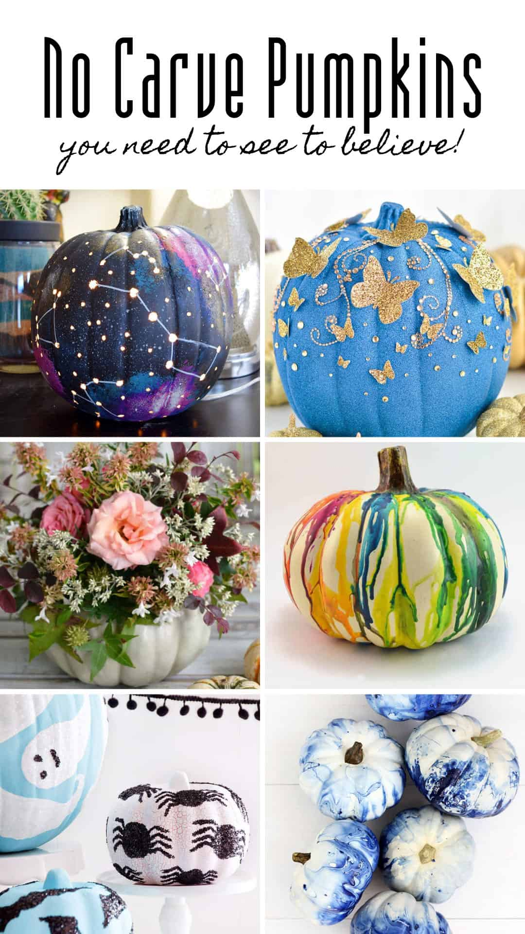 If you're looking for ideas for pumpkin decorating without carving this is the ultimate collection of no mess designs for Fall and Halloween that will be loved by kids and grownups alike! #pumpkin