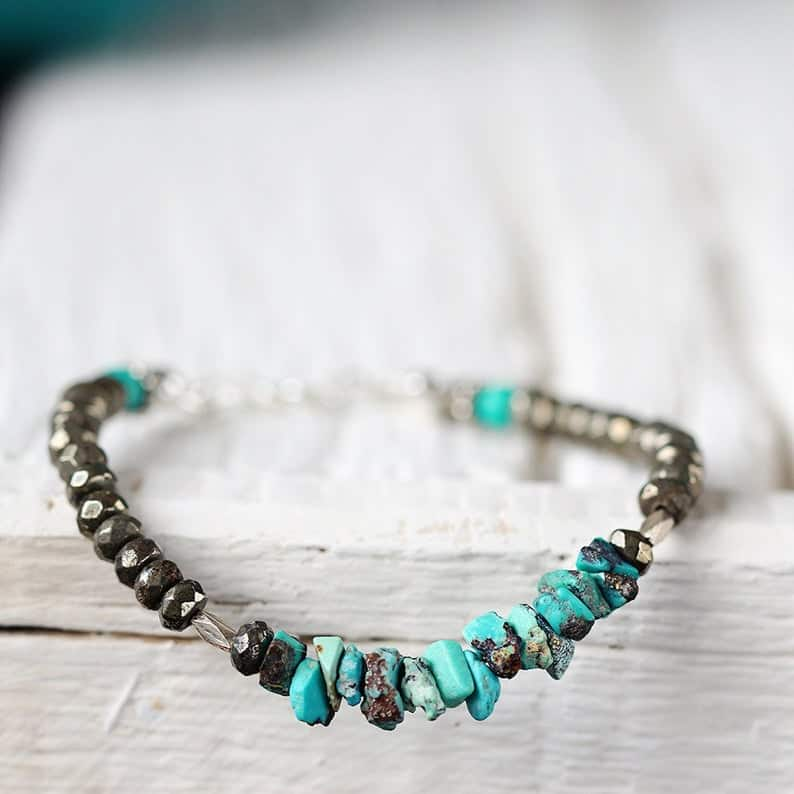 Raw Turquoise and Pyrite Bracelet