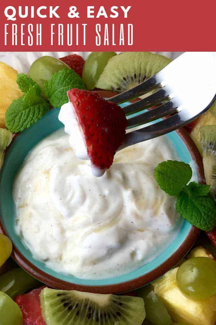 If you're looking for a summer pot luck dessert idea you really can't go wrong with a nice fresh fruit salad. Especially one that's paired with a delicious honey-yogurt dip.
