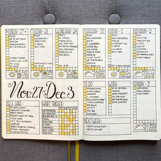 Quick and functional weekly spread