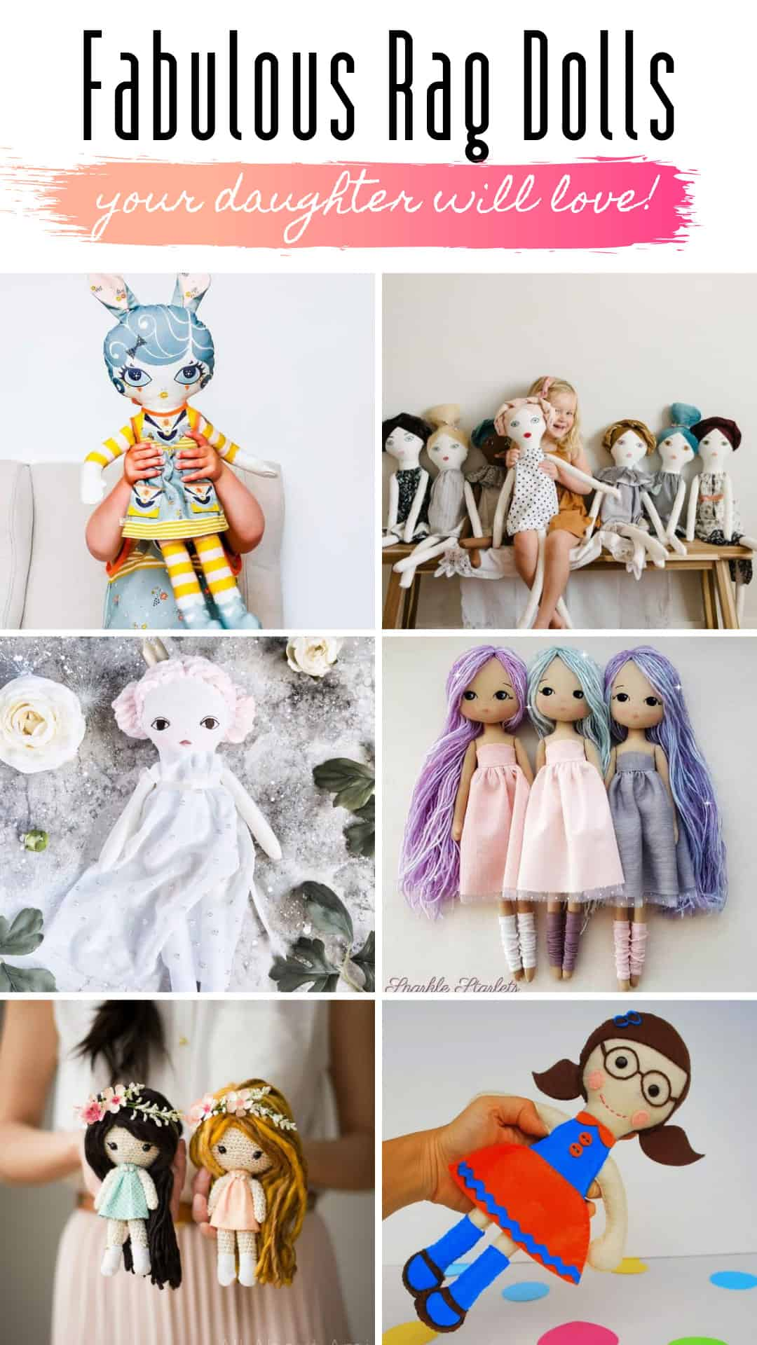 These rag doll patterns are just gorgeous and perfect gift ideas for the little girl on your make for list!