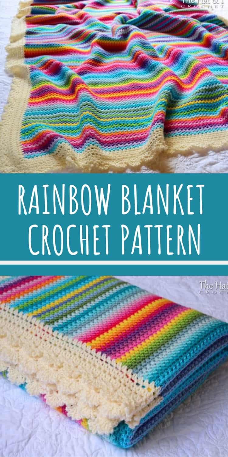 This rainbow striped crochet blanket pattern is GORGEOUS!