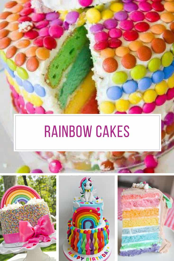 These rainbow cakes for girls are perfect for a birthday party!