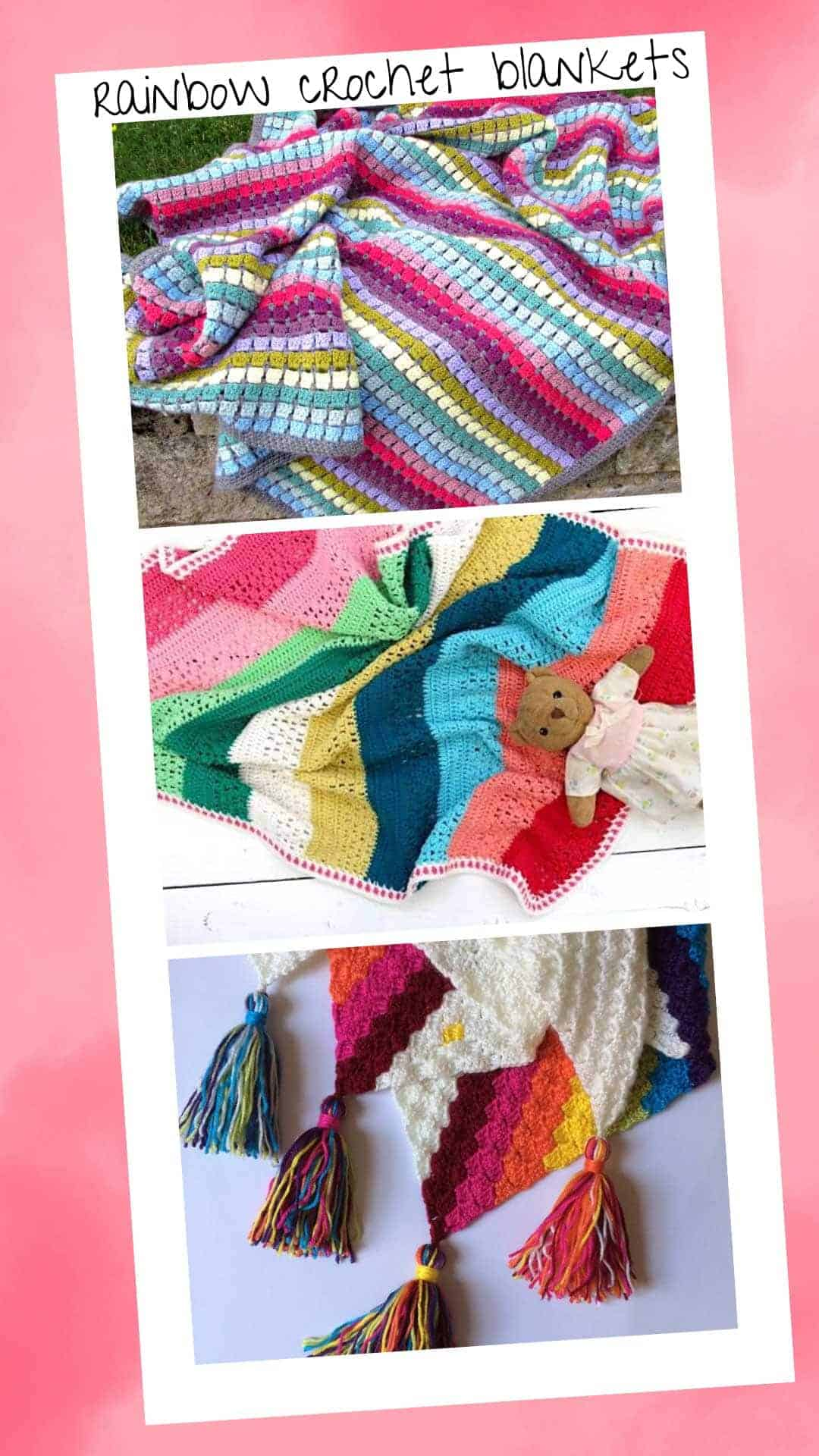 Celebrate with these Colorful Crochet Rainbow Baby Blankets