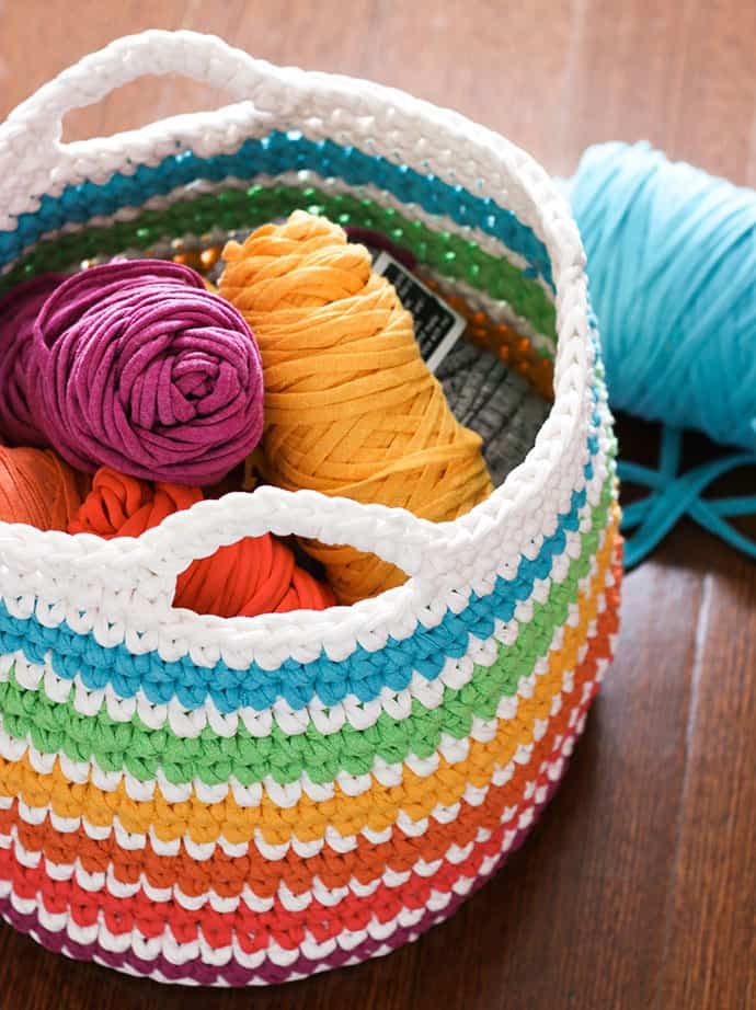 Rainbow Crochet Storage Basket