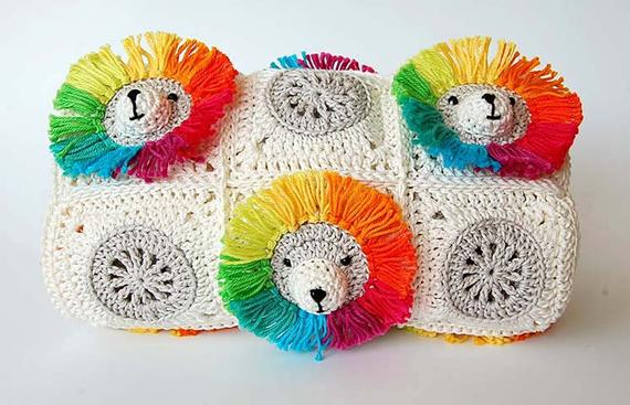 Rainbow Lion Baby Blanket Crochet Pattern