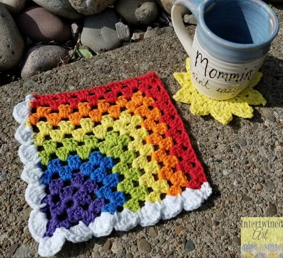 Rainbow Mitered Granny Square Pattern