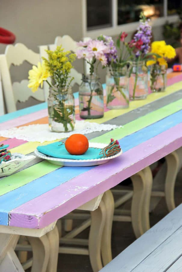 Rainbow Picnic Table Makeover