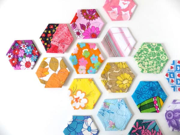 Rainbow Pieced Hexies