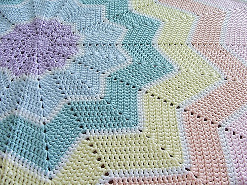 Rainbow Ripple Baby Blanket by Celeste Young