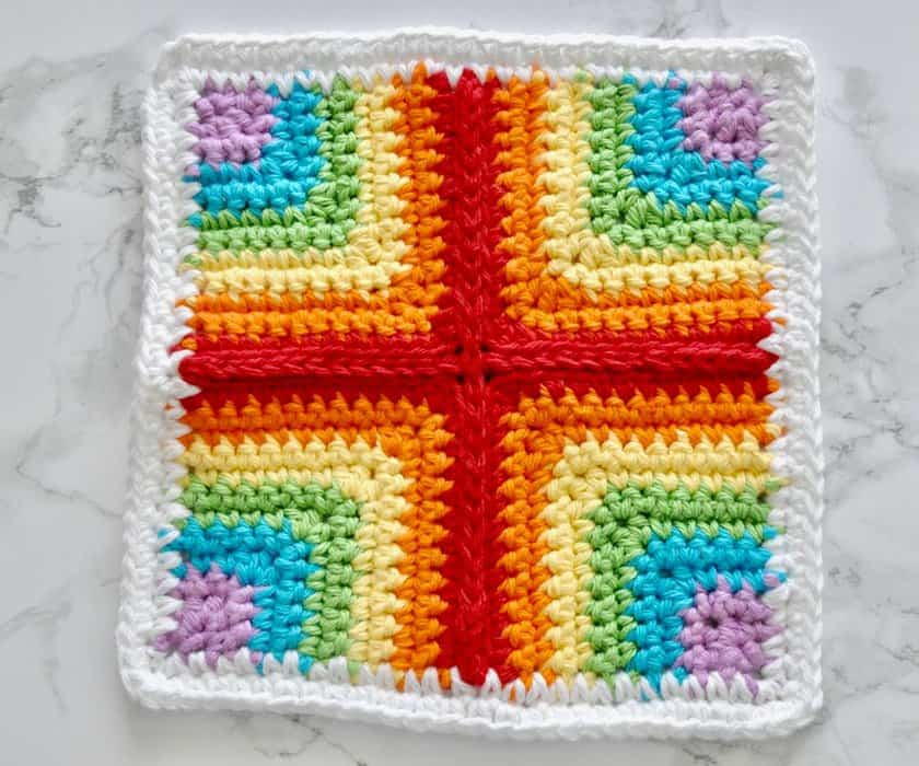 Rainbow Square Dishcloth Pattern