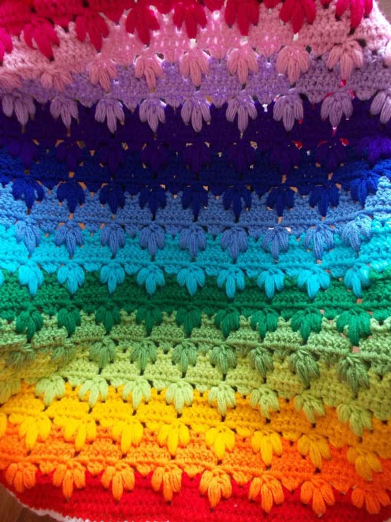 Rainbow Baby Blanket with Lush Stitch