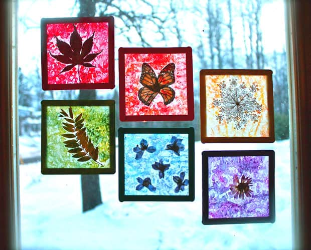 Nature Craft For Kids: Rainbow Stained Glass Suncatchers