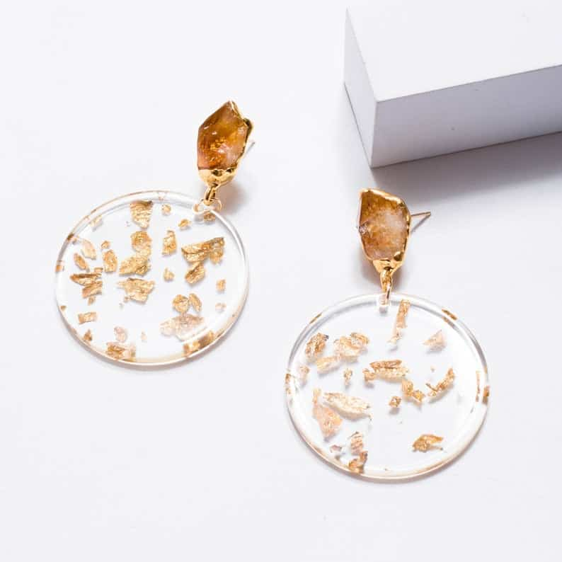 Raw Citrine Drop Earrings