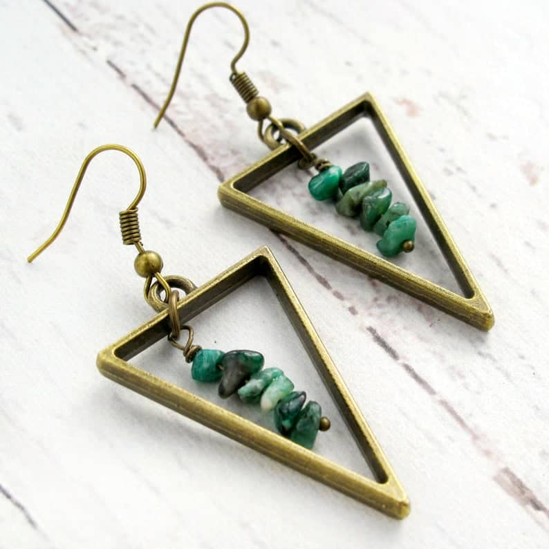 May Birthstone Raw Emerald Earrings