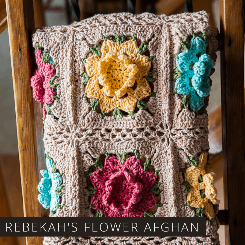 Rebekah's Flower Afghan is a free crochet pattern which is easy to follow and has gorgeous 3d floral motifs and a vintage vibe