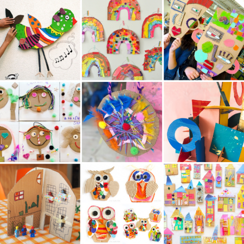 These cardboard crafts for kids are perfect for all ages and a creative way to use up that recycled packaging while learning about colours, shapes, letters and more!
