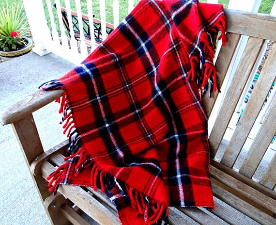 Red Plaid Blanket Throw Farmhouse Christmas