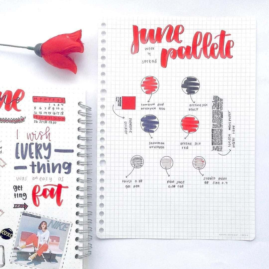 Red color pallette for your bullet journal