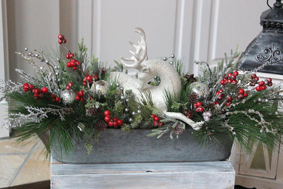 Reinedeer Christmas Centerpiece Fixer Upper Farmhouse