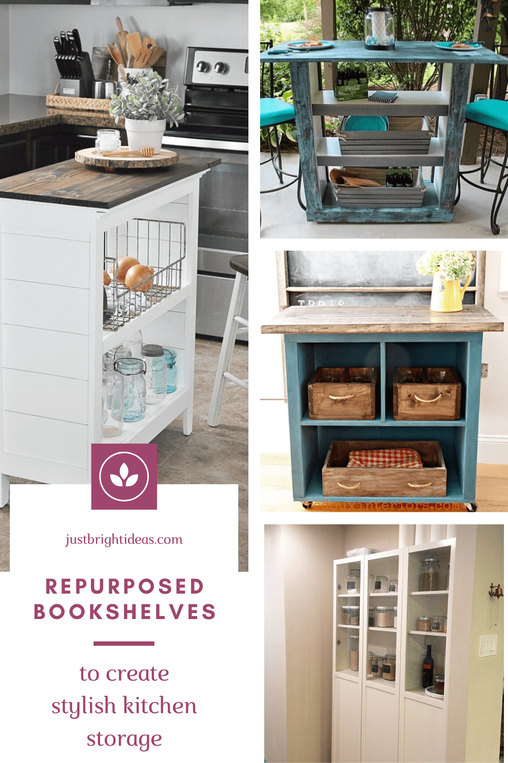 Find out how to repurpose an old bookshelf into stylish kitchen storage
