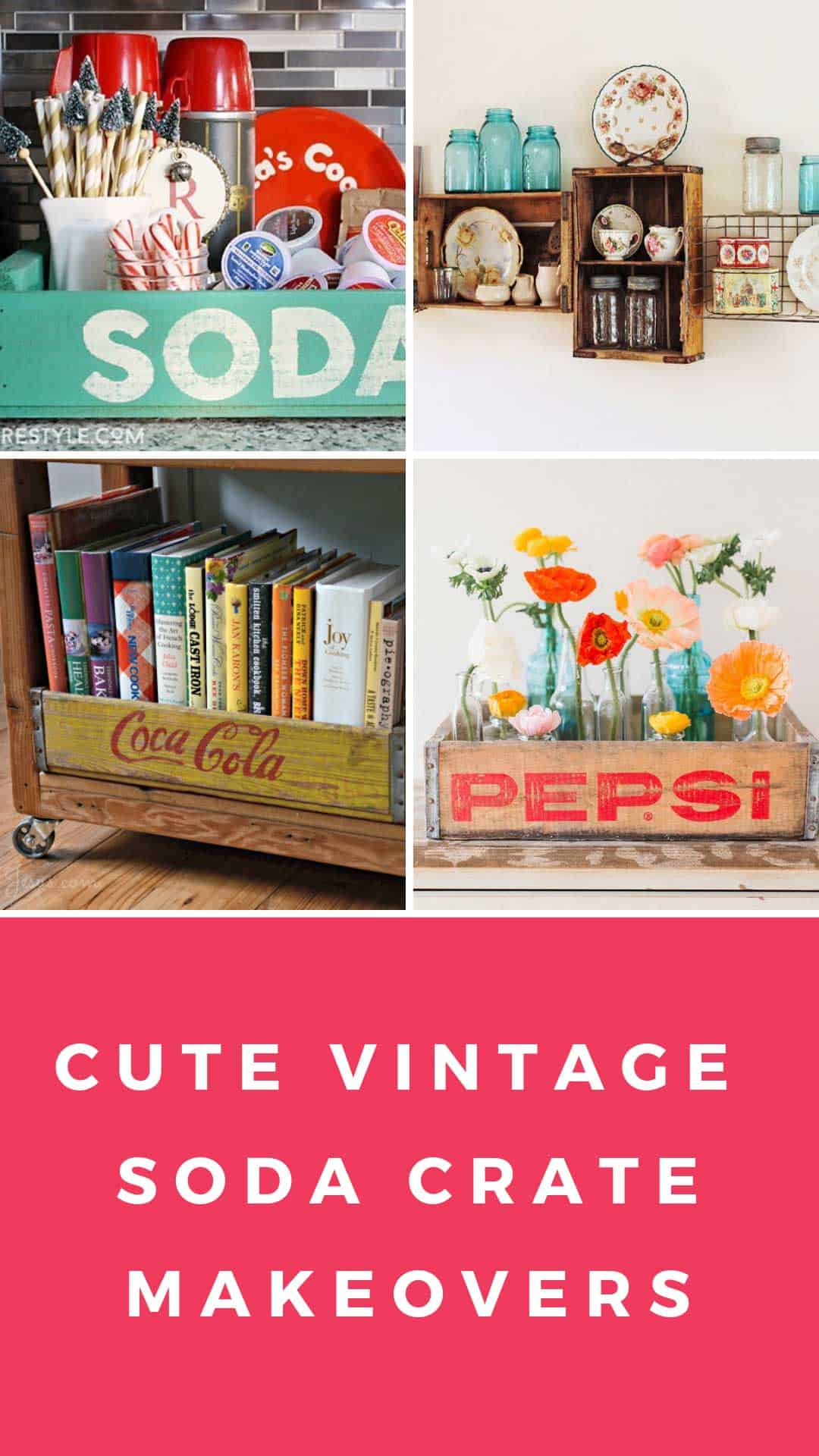 These repurposed coke crate ideas are beyond genius! I LOVE the idea of using a soda crate as a table centerpiece, and for storing essential oils too!