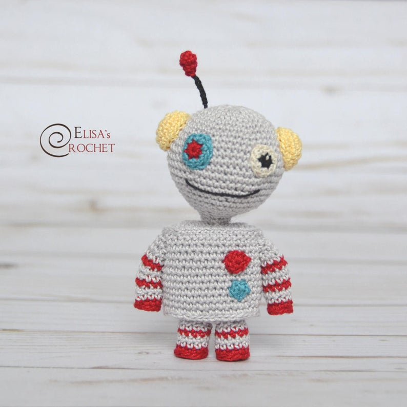 Crochet this sweet little robot as a party favor or a play mate for your child