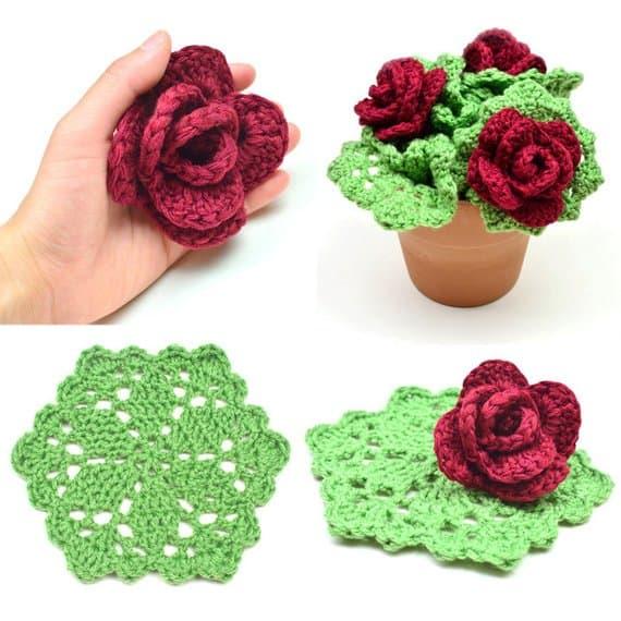 Roses Dish Scrubbie Crochet Pattern