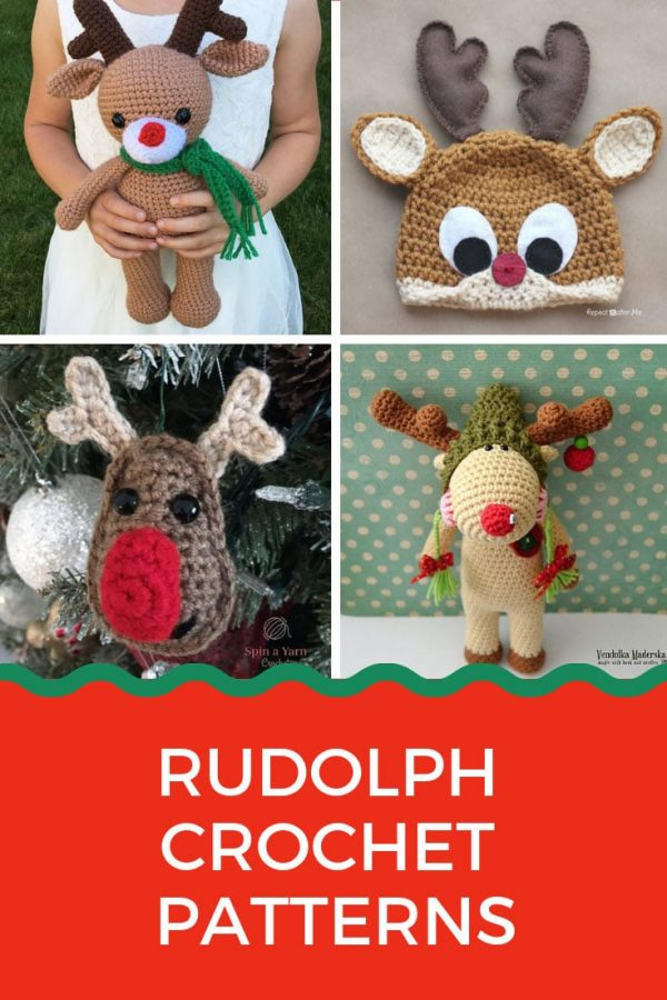 How adorable are these Rudolph reindeer crochet patterns!
