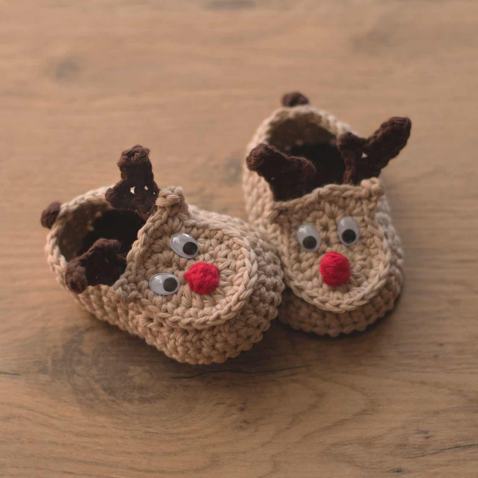 Rudolph the Reindeer Crochet Booties Free Pattern