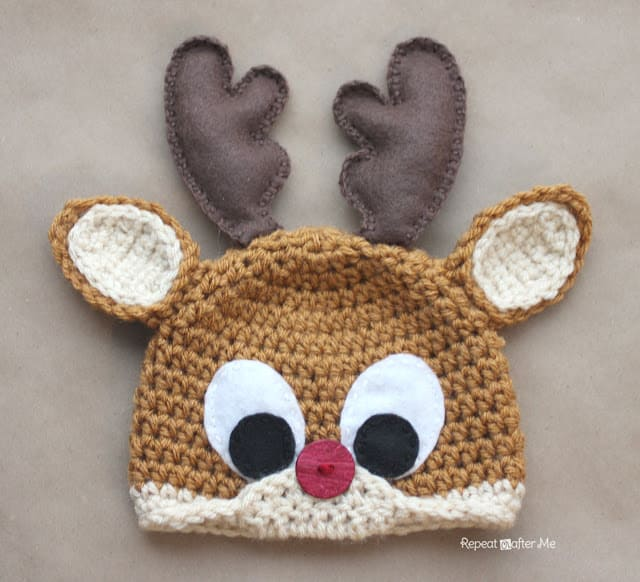 Rudolph the Reindeer Hat Free Crochet pattern