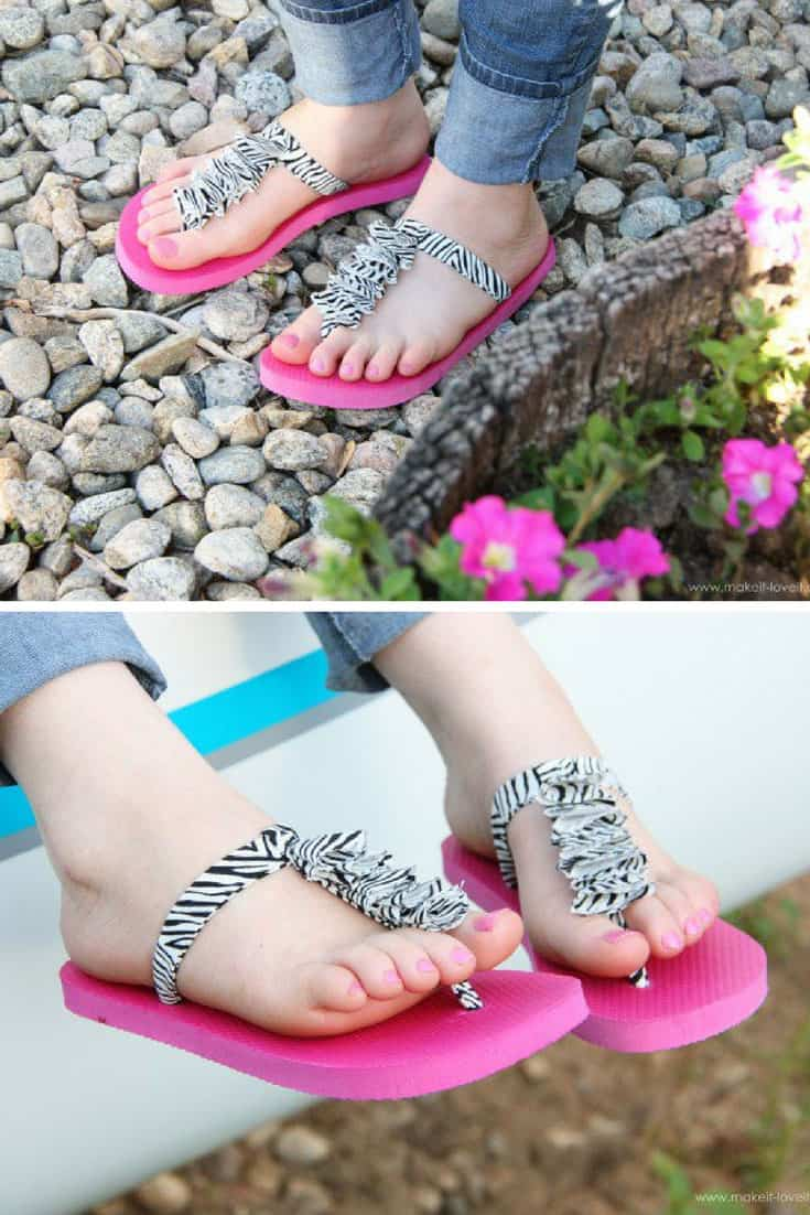 Ruffled T Strap Flip Flop Refashion