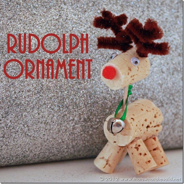 LOVE this! What a great way to recycle our corks - by making a Rudolph decoration!