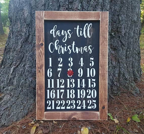 Rustic Christmas Countdown Chalkboard Sign