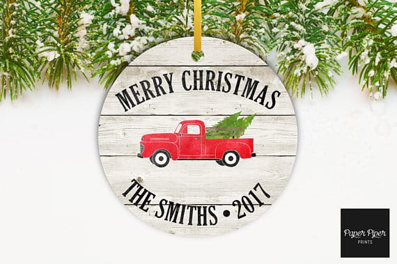 Rustic Christmas Red Truck Ornament