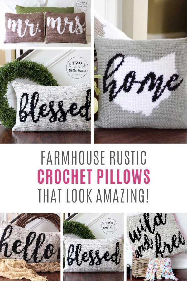 So many fabulous rustic crochet pillows!