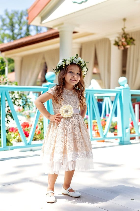 Rustic Country Flower Girl Dress